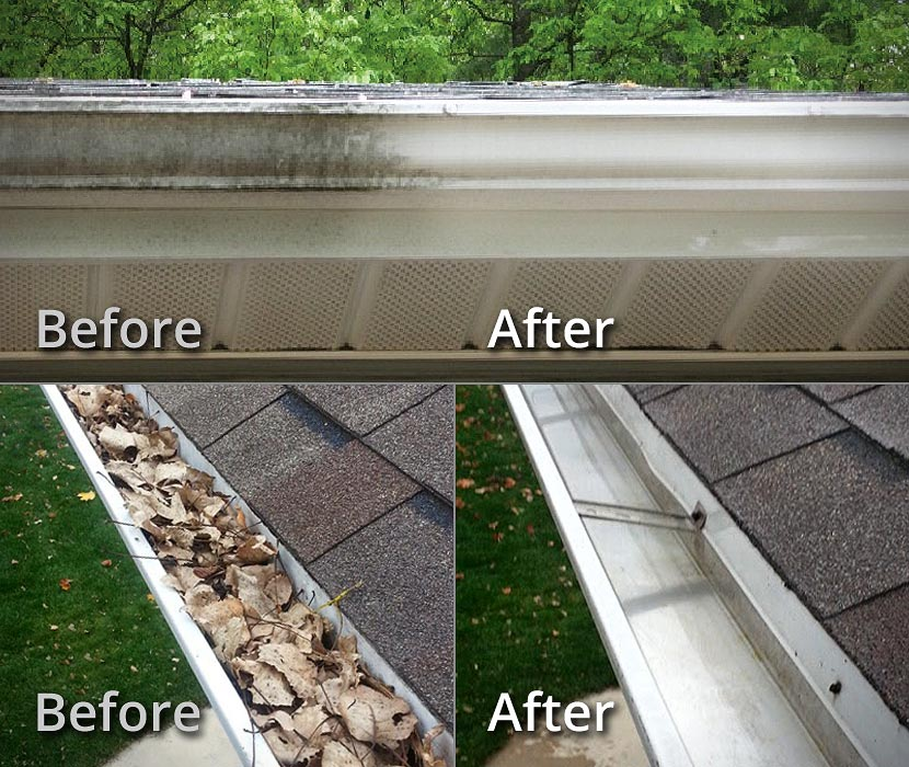Gutter Exterior Cleaning and Gutter Cleanouts